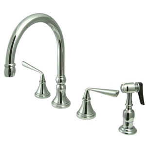 Chrome Metal Lever Adjustable Spread Deck Mount Kitchen Faucet with Matching Sprayer