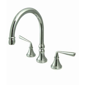 Chrome Metal Lever Adjustable Spread Deck Mount Kitchen Faucet without Sprayer