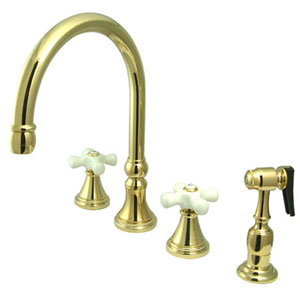 Polished Brass Porcelain Cross Handle Adjustable Spread Deck Mount Kitchen Faucet with Matching Sprayer