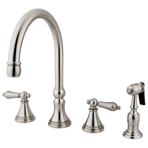 Satin Nickel Metal Lever Adjustable Spread Deck Mount Kitchen Faucet with Matching Sprayer