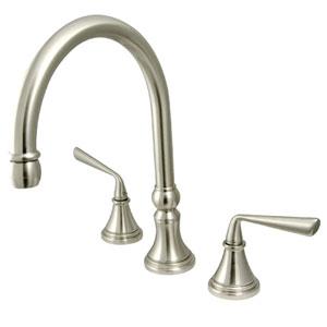 Satin Nickel Metal Lever Adjustable Spread Deck Mount Kitchen Faucet without Sprayer
