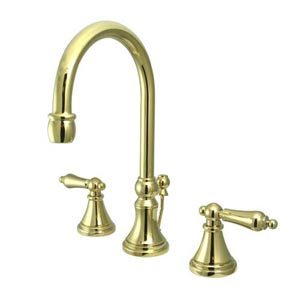 Madison Polished Brass Bathroom Faucet with Metal Levers