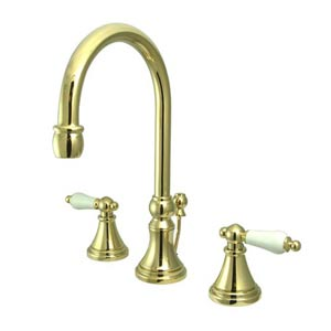 Madison Polished Brass Bathroom Faucet with Porcelain Levers