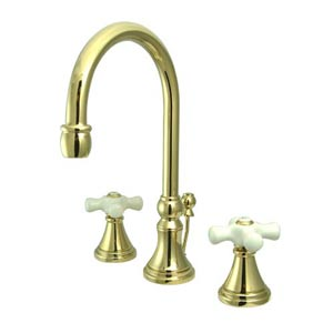 Madison Polished Brass Bathroom Faucet with Porcelain Crosses