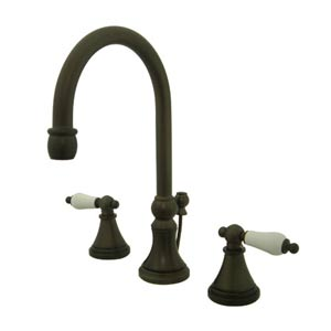 Madison Oil Rubbed Bronze Bathroom Faucet with Porcelain Levers