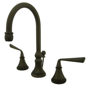 Syracuse Oil Rubbed Bronze Two Handle 8-Inch to 16-Inch Widespread Lavatory Faucet with Brass Pop-up