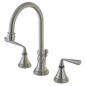 Copenhagen Satin Nickel Double Handle 8-16-in Widespread Lavatory Faucet with Brass Pop-Up