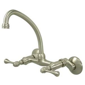 Satin Nickel Wall Mount High Arch Adjustable Spread Kitchen Faucet with Buckingham Levers