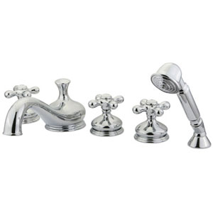 Chrome Metal Cross Handle Five-Piece Roman Tub Filler with Hand Shower