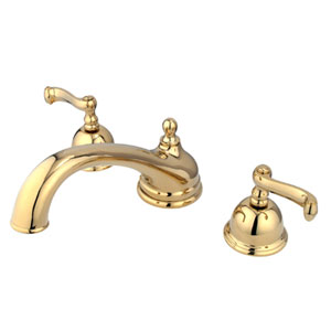 Polished Brass French Lever Roman Tub Filler