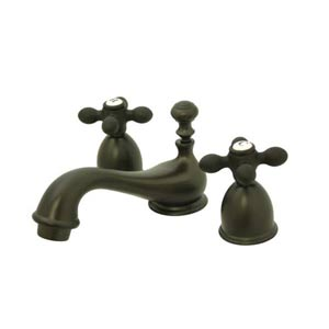 Chicago Oil Rubbed Bronze Mini Bathroom Faucet with Metal Crosses