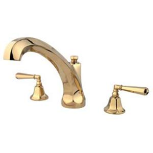 New York Polished Brass Roman Tub Filler with Hex Lever