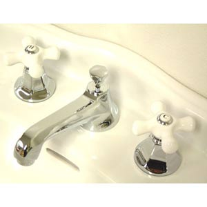 New York Chrome Bathroom Faucet with Porcelain Crosses