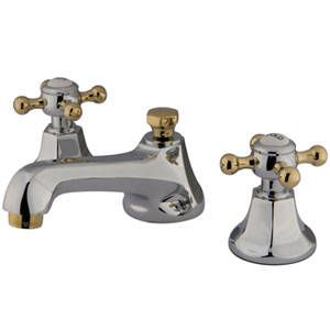 Chrome and Polished Brass Buckingham Cross Handle Widespread Lavatory Faucet