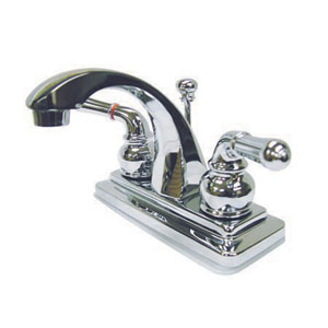 Chrome Round Base Metal Lever Twin Handle 4-Inch Centerset Lavatory Faucet