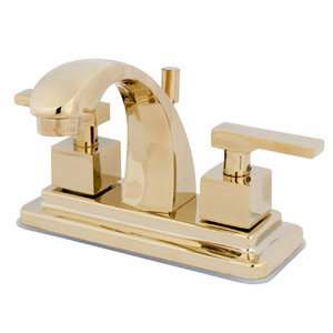 Polished Brass Square Base Metal Lever Twin Handle 4-Inch Centerset Lavatory Faucet