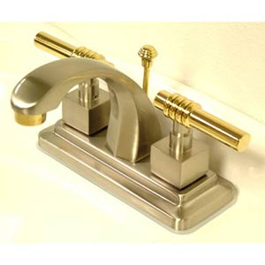 Milano Satin Nickel and Chrome Centerset Bathroom Faucet