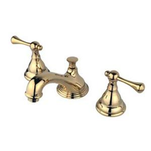 Polished Brass Widespread Lavatory Faucet with Buckingham Lever