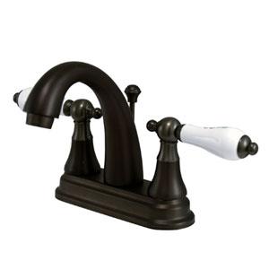 Oil Rubbed Bronze Porcelain Lever 4-Inch Centerset Lavatory Faucet
