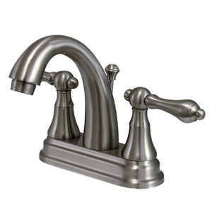 Satin Nickel Metal Lever 4-Inch Centerset Lavatory Faucet