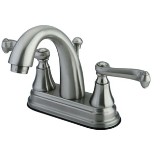 Elizabeth Satin Nickel Two Handle 4-Inch Centerset Lavatory Faucet with Brass Pop-up
