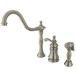 Satin Nickel Templeton Lever Widespread Kitchen Faucet with Matching Brass Sprayer