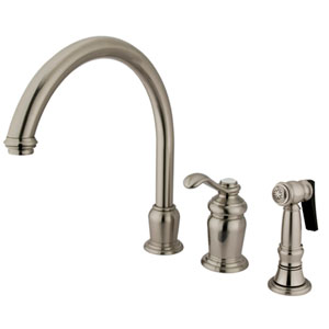 Charlevoix Satin Nickel Single Handle High Spout Kitchen Faucet with Brass Sprayer