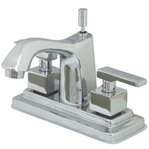 Chrome Metal Lever Twin Handle 4-Inch Lavatory Faucet
