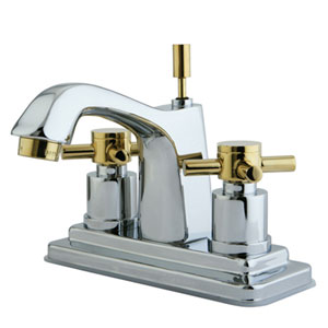 South Beach Polished Chrome/Polished Brass 4-in Double Cross Handle Centerset Lavatory Faucet with Brass Pop-Up/Polished
