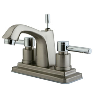 South Beach Polished Chrome/Satin Nickel 4-in Double Handle Centerset Lavatory Faucet with Brass Pop-Up/Satin Nickel
