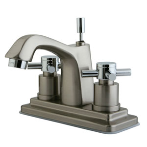 South Beach Polished Chrome/Satin Nickel 4-in Double Cross Handle Centerset Lavatory Faucet with Brass Pop-Up/Satin Nickel