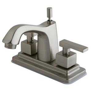 Miami Satin Nickel Two Handle 4-Inch Centerset Lavatory Faucet with Brass Pop-up