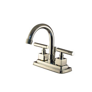 Chrome Metal Cylindrical Lever 4-Inch Lavatory Faucet with Brass Pop-Up