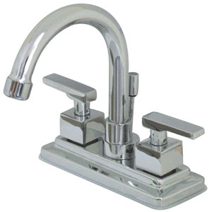 Chrome Metal  Lever 4-Inch Lavatory Faucet with Brass Pop-Up