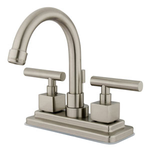 Satin Nickel Metal Cylindrical Lever 4-Inch Lavatory Faucet with Brass Pop-Up