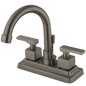 Satin Nickel Metal  Lever 4-Inch Lavatory Faucet with Brass Pop-Up