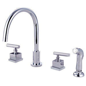 Rio Polished Chrome Widespread Kitchen Faucet with Matching Finish Plastic Sprayer