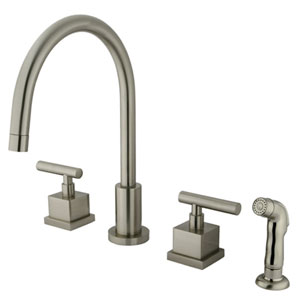 Rio Satin Nickel Widespread Kitchen Faucet with Matching Finish Plastic Sprayer