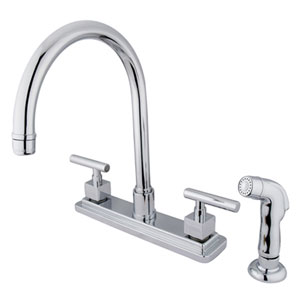 Chrome Square Base Metal Lever Twin Handle Kitchen Faucet with Matching Plastic Sprayer