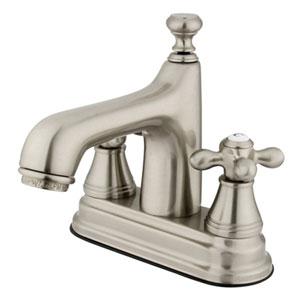 Satin Nickel Metal Cross Handle 4-Inch Centerset Lavatory Faucet