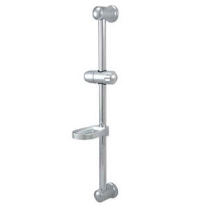 Nuvo Satin Nickel 24-Inch Shower Slide Bar with Soap Dish