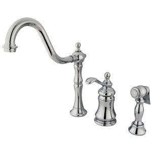 Templeton Chrome Widespread Low Lead Single Handle Kitchen Faucet with Brass Sprayer