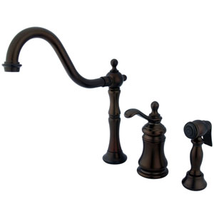 Templeton Oil Rubbed Bronze Widespread Low Lead Single Handle Kitchen Faucet with Brass Sprayer