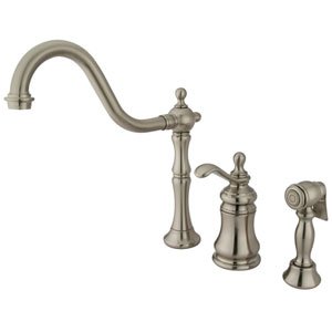 Templeton Satin Nickel Widespread Low Lead Single Handle Kitchen Faucet with Brass Sprayer