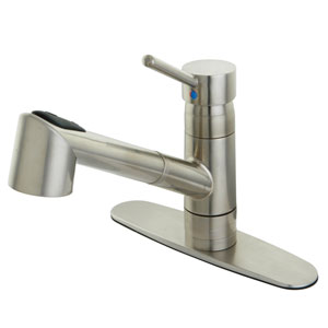 Wilshire Satin Nickel 8-Inch Centerset Low Lead Single Handle Kitchen Faucet with Pull-Out Sprayer