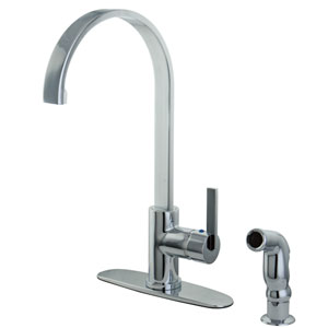 Continental Chrome 8-Inch Centerset Low Lead Single Handle Kitchen Faucet with Matching Side sprayer