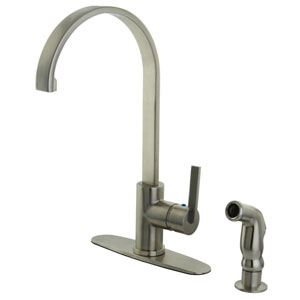 Continental Satin Nickel 8-Inch Centerset Low Lead Single Handle Kitchen Faucet with Matching Side Sprayer