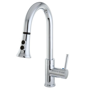 Concord Chrome Mono Block Single Handle Faucet with Pull-Down Sprayer