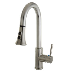 Concord Satin Nickel Mono Block Single Handle Faucet with Pull-Down Sprayer