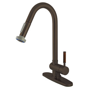 Wilshire Oil Rubbed Bronze 8-Inch Centerset Low Lead Single Handle Kitchen Faucet with  Pull-Out Sprayer